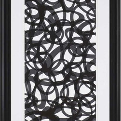 "Paragon Decor - Going in Circles Artwork - Spruce up those boring walls with this piece, ""Going in Circles."" This piece will bring the illusions of movement into your home. Featuring an array of circles and ovals overlapping to create a piece of contemporary art that will truly make a statement, this geometric black and white piece is surrounded by a white matte and a simple black frame. This piece measures 38 inches wide, 2 inches deep, and 66 inches high."