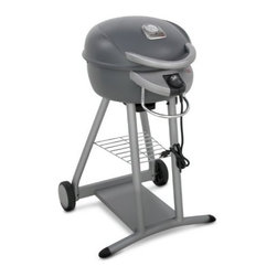 Char-Broil - Char-Broil Electric Grill Graphite - Full-sized grilling in a grill designed for smaller spaces and with no flames so you can grill juicy foods on your patio balcony and more. Patented infrared cooking system channels heat evenly to the cooking grate eliminating hot and cold spots. Precision dial gives you complete command over the 1750-watt electric burner for your cookout favorites. TRU-Infrared grill with the convenience of full-sized grilling in a compact design. Plugs into any 120V outlet 240 sq. in. porcelain-coated primary cooking surface 80 sq. in. secondary cooking surface Red porcelain-coated grill body Temperature gauge on top of hood allows for monitoring grill temperature at a glance. Cool touch handle and hinged lid for no-hassle access to your foods Storage grate to keep your tools close at hand Strong durable wheels for quick and easy storage and maneuverability.
