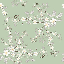 Chic Shelf Paper Cherry Blossoms Shelf Paper & Drawer Liner - Branches of white cherry blossoms on dusty green backdrop.
