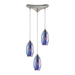 ELK Lighting - Three Light Satin Nickel Storm Blue Glass Multi Light Pendant - Three Light Satin Nickel Storm Blue Glass Multi Light Pendant