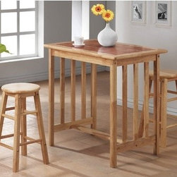 Wildon Home � - 3 Piece Counter Height Bar Table Set with Terracotta Tile Top in Natural - Features: -Set includes bar table and two bar stools. -Natural finish. -Rubber wood construction. -Terracotta tile top. -Stools can be stored underneath table. -Small size allows this set to fit anywhere. -Assembly required.