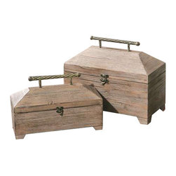 Uttermost Tadao Natural Wood Boxes, Set/2 - Lightly antiqued, natural wood with metal accents on the hinged lids. Lightly antiqued, natural wood with metal accents on the hinged lids. Sizes: sm-14x9x6, lg-16x13x8