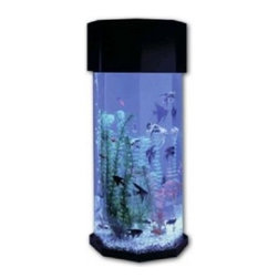 """Midwest Tropical 622 Octagon AquaScape 10 Gallon Acrylic Fish Tank Aquarium - Shipping:- this item requires two to three weeks to manufacture and ship. Details:- 622 Octagon AquaScape - 13 1/4 """" x 12 1/2 """" x 29 """" H - 10 Gallon StyleINCLUDES:- 1 Air Pump - 1 Undergravel filter - 1 Fluorescent Light Fixture - 1 Set of Artificial Plant Decorations - 1 Black Acrylic Header Unit with Cap - 1 Clear Acrylic Tank with Attached Base"""