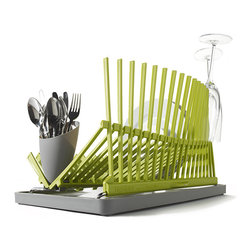 High & Dry Collapsible Dishrack Black + Blum, Lime Green/Gray - I don't have a dishwasher and have to wash all of the dishes by hand. I like the idea of making my dish rack a more stylish presence in the kitchen.