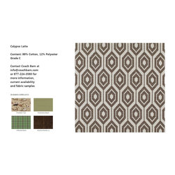 Calypso Latte Upholstery Fabric - CB Upholstered Collection - Repeating hexagons form a woven tribal inspired honeycomb pattern, the Calypso Latte fabric features brown on a white background.  Coach Barn has proudly paired with a renowned manufacturer to create a collection of quality crafted, American-made upholstered furniture featuring a wide selection of fabrics and leathers.