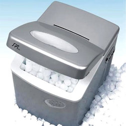 SPT Appliance - Portable Ice Maker w 3 Different Cube Sizes f - Take the party with you wherever you go with this fabulous portable ice maker.  Compact in design but big on performance, this free-standing model can produce up to an incredible thirty-five pounds of in one single day.  It can be filled with over one gallon of water to produce three different sizes of ice cubes.  Versatile silver color platinum finish is modern and stylish. Make up to 35 lbs. of ice cubes per day. Stores up to 2.5 lbs. of ice at a time. Produces approx. 12 ice cubes in less than 10 minutes. Makes 3 different ice cube sizes. 1.2 gallon water reservoir. No drain required. Soft touch controls. Platinum color. High efficiency CFC-free compressor. Freestanding application. UL / CE / GS certified. Power consumption: 300 W. Power: 115V / 60Hz. Rated current: 2.6 A. Refrigerant: R134a / 105g. 15 in. W x 17.125 in. D x 17 in. HA self-contained ice maker: compact, easy to use and requires no installation. Makes 3 different ice cube sizes. Ideal for home bars, recreation rooms, boats...almost anywhere. Just a few simple steps and you'll get the first batch of 12 cubes in less than 10 minutes! Makes up to 2 lbs. of ice in an hour and up to 35 lbs. of ice in 24 hours. Highly portable, you can enjoy cool, refreshing ice wherever 115V outlet (and water) is available.Stylish Platinum design adds compliment to you kitchen, office, mini-bars and more!