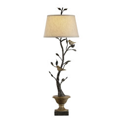 """Currey and Company - Mulberry Table Lamp - A hand-turned wooden urn creates the base for this unusual iron """"topiary?. Small carved wooden birds perched on the limbs create a whimsical look."""
