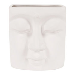 Howard Elliott - Howard Elliott Abstract Buddha Face in Eggshell White Ceramic Wall Vase - This ceramic vase features a vast resemblance to Buddha. It is finished in a matte eggshell white and can hang on the wall. Model Number: 34092
