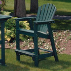 """Seaside Casual - Adirondack Shell Back Outdoor Bar Chair - EnviroWood - The shell back bar chair was designed for comfort and built to last. The EnviroWood (High Density Polyethylene) used to make this chair can take extreme heat and cold, moisture, harsh chemicals, UV rays, and all other everyday outdoor wear and tear. It is the perfect accessory to enjoy your view, no matter how rough the climate. Features: -Dimensions: 27""""D x 26""""W x 46""""H. -Shipped knocked down, with easy assembly required. -Suitable for residential or commercial use. Please Note: Green finish is a special order and lead time may extend to up to six weeks. About Seaside Casual and EnviroWood Welcome to the latest collection of Outdoor furniture from Seaside Casual Furniture. Their company has been providing outdoor products to Southern New England for nearly 100 years. We are confident that you are viewing the finest ready to assemble outdoor furniture products available. Seaside Casual offers a one year limited warranty on mahogany materials and workmanship, and a twenty year limited warranty on EnviroWood materials and workmanship for both commercial and residential applications. Made from recycled plastic bottles and containers that are permeated with UV stabilized coloring that is consistent throughout the entire product. Seaside's EnviroWood furnishings will provide you with the look of traditional painted wood furniture with no maintenance."""