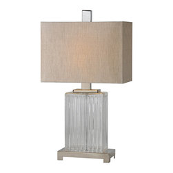 Ren-Wil - Ren-Wil LPT474 Satin Nickel Gabriella Table Lamp by Jonathan Wilner - A ribbed glass body sits on a satin nickel base and is finished with a grey linen shade and matching satin nickel finial.
