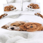 Dolce Mela - Fun Duvet Covet Bedding set, Cute Doggies Animal Print by Dolce Mela, Queen - Don't wait to sneak under this stunning bedding ensemble and cuddle up with the sweetest print of puppy dogs.