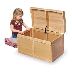 Badger Basket - Barrel Top Toy Chest - Natural - This natural hardwood barrel top toy chest has an attractive styling - treasure chest look - perfect as a place for storing special toys and stuffed animals. Also great as easily accessible storage for baby blankets and bedding. Quality hardware with safety support hinge. Lid opens fully, and will also stay open in any partially open position. The safety hinge secures the lid in the open position so it won't slam shut on your child. Easy to assemble with a screwdriver. Illustrated instructions included.