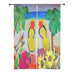 xmarc - Beach Art Sheer Curtains, Flowers And Flip Flops - The windows have it with these sheer, decorative curtains. Romantic and flowing, these elegant chiffon window treatments finish a room with the perfect statement