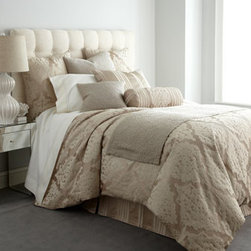 "Fino Lino Linen & Lace - Fino Lino Linen & Lace King Damask Medallion Duvet Cover, 106"" x 94"" - Luxurious in both texture and tone, this stunning bedding ensemble featuring raised damask medallion and striped patterns is paired with accessories enhanced with vermicelli stitching. From Fino Lino Linen & Lace®. Damask medallion and striped li..."
