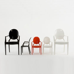 "Kartell - Kartell Lou Lou Ghost Armchair - Following the runaway success of Louis Ghost, Kartell created a ""baby"" version of the famous Starck chair.  Lou Lou Ghost inherits its ""paternal"" classic lines, material, indestructibility and ergonomics and teaches little ones how to use a pint-sized chair with a grown-up shape.  Manufactured in transparent or batch-dyed polycarbonate.  Made just for children, this chair is available in a rainbow of fun and delightful colors.  Manufactured by Kartell."