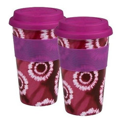 Waechtersbach Set of 2 Medium Travel Mugs Batik- Pink - Be your own barista with an order to go when you have the Waechtersbach Set of 2 Medium Travel Mugs Batik- Pink. Crafted of fine porcelain, these convenient mugs are dishwasher- and microwave-safe and are finished in a pink color with tie dye print. This set of two cups feature a ribbed grip design for comfortable handling.Set includesTwo travel mugsAbout Waechtersbach USAIf you're looking for big, bold color at the dinner table, you've found it with the distinctive designs of Waechtersbach USA, the US division of the renowned German company. Since 1832, Waechtersbach has been crafting colorful ceramic products that celebrate the beauty of color, from everyday dinnerware to more formal serving ware. Waechtersbach has been in business for over 175 years and they always keep an eye on contemporary environmental needs with their dedicated manufacturing processes that utilize optimal machinery and expend less carbon dioxide.