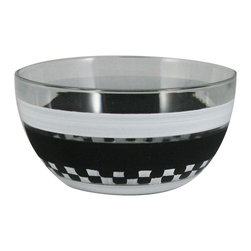 "Black &  Checkered Chalk  6"" Bowl - This is a 6"" bowl which is hand painted.  Perfect for the holidays or any season.  Something to be handed down from generation to generation. Proudly hand painted in the USA."