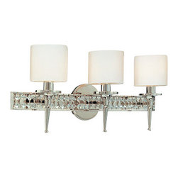 Troy Lighting - Troy Lighting B1923 Collins 3 Light Bathroom Vanity Light - Raise the bar on style with the Collins 3-Light Bathroom Vanity Light. Featuring Diamond Crystal accents, cylindrical Opal Glass shades and a glossy Polished Nickel finish, this extraordinary luminaire unites Hollywood style glamour with surprising affordability. Designed, engineered and handcrafted to Troy Lighting�s exacting standards, it will provide enduring beauty and elegant illumination for years to come. Accommodates three 60-watt candelabra base bulbs.