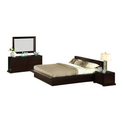 Lifestyle Solutions - 4 Piece Zurich Bedroom Set - 950 Cal King Bed - Crafted using tropical hardwood solids and veneers. Features a solid wood frame. Eight-step Cappuccino finish with durable protective lacquer. 13-slat pack . Center support bar with center support legs . Durable construction. Mattress not included. Solid wood drawer boxes with English Dovetail Joinery front & back. Hand-sanded & stained interiors for all drawers. Clean with damp clothThe Zurich Bedroom group, in its simplicity, lies great functionality. The boxed-in feature for the mattress further accents Zurich's practicality. Its fuss-free lines and understated details make this bed set a sure hit in minimalist decor style. Complimentary 950 Series casegoods complete the look. The 4PC group comes with bed, 1 nightstand, dresser and mirror.