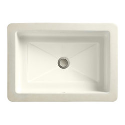 "Porcher - Marquee Petite Rectangle Small Undermount Bathroom Sink - Features: -Undermount bathroom sink.-Marquee collection.-Available in white, matte white, matte black, biscuit, matte biscuit or black finish.-Vitreous china construction.-Undermount mounting.-Design that combines diamond like facets and precise symmetry.-Designed for smaller countertops.-Mounting kit included.-Everclean surface inhibits the growth of stain and odor causing bacteria, mold and mildew on the surface (not available on matte colors).-Meets or exceeds ASME A112.19.2 / CSA B45.1 certifications.-ADA compliant.-Manufacturer provides 1 year limited warranty. Specifications: -Bowl inside dimensions: 5.5"" H x 14.5"" W x 9.5"" D.-Overall dimensions: 7.5"" H x 17.625"" W x 12.625"" D."