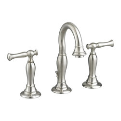 American Standard - American Standard 7440.801.295 Quentin 2-Handle Lavatory Faucet, Brushed Nickel - This American Standard 7440.801.295 Quentin two handle Widespread Lavatory Faucet is part of the Quentin collection, and comes in a beautiful Brushed Nickel finish. This widespread lavatory faucet features a brass construction, ceramic disc valve cartridges, a lead-free design, and an exclusive Speed Connect metal drain.