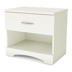 South Shore - Step One 1 Drawer Nightstand in Pure White - Manufactured from eco-friendly, EPP-compliant laminated particle boardcarrying the Forest Stewardship Council (FSC) certification. 1 Drawer. Decorative kickplate. Easily accessible open storage space. Smart Glide drawer slides feature stops and built-in dampers. Elegant metal handle with a Brushed Zinc finish. Manufactured from laminated particle board. 5-Year manufacturer's warranty. Assembly required. 23.35 in. W x 16.3 in. D x 20.47 in. HThis modern night stand combines an open storage compartment with a closed drawer to meet your storage needs.
