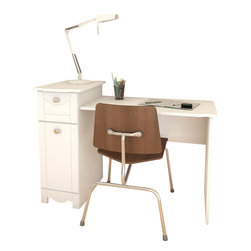 Nexera - Nexera Dixie Desk, Vanity - Dixie Desk from Nexera proposes convenient storage and work surface while it can also be turned into a Vanity with the addition of Dixie Mirror. Dixie Desk/Vanity features a catch-all drawer on metal slides, a closed section with door and adjustable shelf, and a work surface with modesty panel. Dixie Collection is the perfect bedroom suite for your little princess. It is offered in a rich textured lacquer and melamine finish with metal handles, rounded girly construction details and generous storage space for all her treasures.