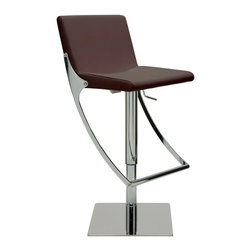 """Nuevo Living - Swing Adjustable Bar Stool, Brown - Swing Adjustable Bar Stool features full 360 degree swivel for optimum flexibility in use and a gas lift mechanism so you can adjust your designed height from 20.5"""" to 30.5"""". The seat is made of leather upholstery and CFS foam, which is both comfortable and luxurious. The polished stainless steel base of Swing barstool is built for years of dependable use. The modern design makes the stool very versatile and offers height adjustability so you can use it just about anywhere."""