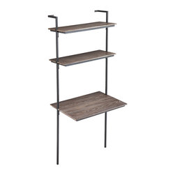 Haeloen Wall Mount Desk Burnt Oak - When you need a home office, but don't have an entire room to devote, consider this minimalist Haeloen wall mount desk to be the perfect solution. The metal tube frame supports two upper shelves and a generous writing space, perfect for a laptop or tablet. Store reference books or a few files on the shelves and perk them up with an office supply or two and let this wall mounted desk work for you.