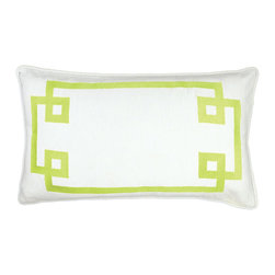 """NECTARmodern - Deco Frame (green) embroidered throw pillow 20"""" x 12"""" - Clean and chic. Electric green embroidery on white linen. White rolled piping around the edge. Solid white back. Designer quality cover with overstuffed feather/down insert."""