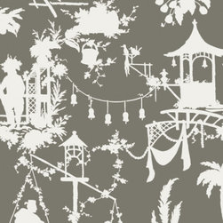 South Sea Wallpaper, Gray, Set of 2 Rolls - Thibaut's gorgeous new South Sea wallpaper in gray is an instant chinoiserie classic. It's also available in fabric.
