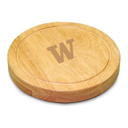 "Picnic Time - University of Washington Circo Cheese Board - The Circo by Picnic Time is so compact and convenient, you'll wonder how you ever got by without it! This 10.2"" (diameter) x 1.6"" circular chopping board is made of eco-friendly rubberwood, a hardwood known for its rich grain and durability. The board swivels open to reveal four stainless steel cheese tools with rubberwood handles. The tools include: 1 cheese cleaver (for crumbly cheeses), 1 cheese plane (for semi-hard to hard cheese slices), 1 fork-tipped cheese knife, and 1 hard cheese knife/spreader. The board has over 82 square inches of cutting surface and features recessed moat along the board's edge to catch cheese brine or juice from cut fruit. The Circo makes a thoughtful gift for any cheese connoisseur!; College Name: University of Washington; Mascot: Huskies; Decoration: Laser Engraving; Includes: 1 Hard cheese knife, 1 Cheese shaver, 1 Fork-tipped cheese knife, 1 Cheese spreader"