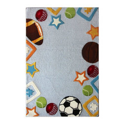Nu Loom - Kids Kinderloom 5'x7' Rectangle Sky Blue Area Rug - The Kinderloom area rug Collection offers an affordable assortment of Kids stylings. Kinderloom features a blend of natural Sky Blue color. Hand Tufted of 100% Wool the Kinderloom Collection is an intriguing compliment to any decor.