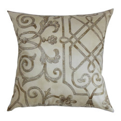 """The Pillow Collection - Basia Geometric Pillow Ivory 18"""" x 18"""" - This decorative pillow exudes a classy vibe with its intricate geometric pattern. The brown-hued pattern is highlighted against the ivory background. Shop for a matching accent piece from our wide selection of throw pillows. This square pillow is durably designed to last for a long time. It's easy to maintain and clean since it's made of 100% cotton material. Hidden zipper closure for easy cover removal.  Knife edge finish on all four sides.  Reversible pillow with the same fabric on the back side.  Spot cleaning suggested."""