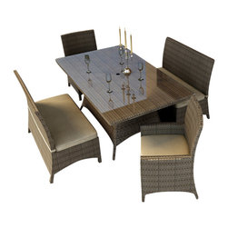 Forever Patio - Hampton 5 Piece Wicker Outdoor Dining Set, Heather Wicker and Tan Cushions - The Forever Patio Hampton 5 Piece Rattan Outdoor Dining Set with Tan Sunbrella cushions (SKU FP-HAM-5DN-HT-BE) creates the perfect contemporary look for dining on your patio or deck. The set seats 6 adults comfortably, and includes 2 dining benches, 2 dining armchairs and a dining table with a glass top. This set features Heather resin wicker, which is made from High-Density Polyethylene (HDPE) for outdoor use. Each strand of this outdoor wicker is infused with its natural color and UV-inhibitors that prevent cracking, chipping and fading ordinarily caused by sunlight, surpassing the quality of natural rattan. This patio dining set is supported by thick-gauged, powder-coated aluminum frames that make it extremely durable. Also included are fade- and mildew-resistant Sunbrella cushions. Backed by its quality construction and highly modern design, this modern outdoor dining set will keep your patio looking great for years.