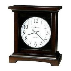 "Howard Miller - Howard Miller - Urban Mantel II Mantel Clock - Add the perfect touch to the center of your mantel or dress up a table or shelf with this richly-colored mantel clock. The classic rectangular design and black coffee finish make this mantel clock a great addition to your living room d̩cor. Clock face features nickel-colored Arabic numerals and nickel colored hands. * The dial features nickel-colored Arabic numerals with white backgroundBlack Coffee finish on select hardwoods and veneersQuartz, dual chime movement plays Westminster or Beethoven chimes, and features volume control and automatic nighttime chime shut-off option10""H x 9""W x 4.5D"