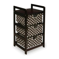 Badger Basket Espresso Finish 3 Drawer Hamper/Storage Unit - Brown Polka Dots - The Badger Basket Espresso Finish 3 Drawer Hamper/Storage Unit - Brown Polka Dots features a warm, non-toxic espresso finish and three classic brown, polka-dotted baskets which beautifully accents the frame. You cans use this piece to easily organize a room without taking up a lot of space or adding a large piece of furniture. Designed so the drawers can easily be pushed in and out, you'll have no problem loading and unloading items. The stoppers on the back prevent the baskets from being pushed out the back, while the drawer bottoms have hard panels to prevent sagging. Easy to clean with mild soap and water, this lovely piece is easy to set up and will be in place in no time.Additional FeaturesDrawers are 80% cotton and 20% polyesterEasy to clean with mild soap and waterIllustrated instructions includedLightweight and easy to assembleBadger Basket CompanyFor over 65 years, Badger Basket Company has been a premier manufacturer of baskets, bassinets, bassinet bedding, changing tables, doll furniture, hampers, toy boxes, and more for infants, babies, and children. Badger Basket Company creates beautiful and comfortable products that are continually updated and refreshed, bringing you exciting new styles and fashions that complement the nostalgic and traditional products in the Badger Basket line.
