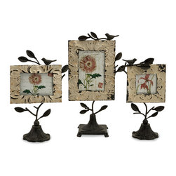 Mona Photo Frames - Set of 3 - *Set of three romantic tin and iron photo fames in various sizes with bases and perched birds.