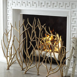 "Horchow - Golden Branch Fireplace Screen - Exclusively ours. Comingled leafless golden branches form a unique fireplace screen to add organic interest to the hearth. Handcrafted of iron. Hand-painted Italian-gold finish. For decorative use or use with gas logs only. 48.75""W x 9""D x 32""T....."