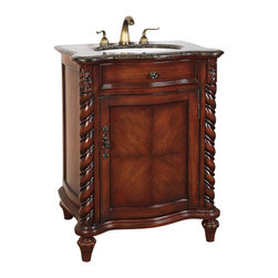 """Legion Furniture - 26 Inch Traditional Single Sink Bathroom Vanity - This 26 inch traditional single sink bathroom vanity is a perfect center piece for your bathroom project.  This Chestnut Brown finish bathroom vanity features one door, and a Baltic Brown granite counter top with white under mount sink that is pre-drilled for a standard 8 inch spread 3-hole faucet (faucet not included). Large opening in back for easy plumbing installation.  Dimensions: 26""""W X 20""""D X 35""""H (Tolerance: +/- 1/4""""); Counter Top: Baltic Brown Granite; Finish: Chestnut Brown; Features: 1 Door; Hardware: Antique Brass; Sink(s): 15.5"""" X 12"""" Under Mount White Ceramic; Faucet: Pre-Drilled for Standard Three Hole 8"""" Center (Not Included); Assembly: Fully Assembled; Large cut out in back for plumbing; Included: Cabinet, Sink; Not Included: Faucet, Backsplash."""