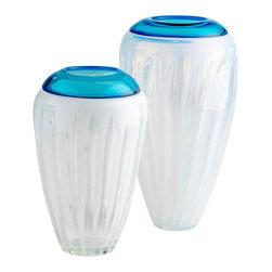 Cyan Design - Cyan Design Lighting 04050 Large Swirl Cyan Vase - Cyan Design 04050 Large Swirl Cyan Vase