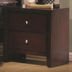 Coaster - Serenity Nightstand w 2 Drawers - Contemporary style. English dovetail drawers. Metal on metal drawer glides for stable and durable design. Metal hardware in brushed nickel finish. Clean lines with splayed legs. Made from wood veneers and solids. Rich merlot finish. 22.25 in. W x 16.5 in. D x 23.62 in. H. WarrantyAccentuate the side of your bed with this sleek and functional Nightstand. This nightstand makes the perfect contemporary accent piece.