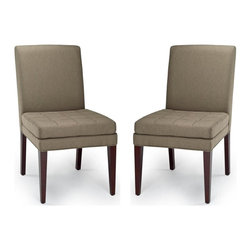 Safavieh - Sage Chair - The Sage's chair straight-forward appeal with button tufting on the seat cushion is designed for cushiony comfort. Shown, in olive fabric and a cherry mahogany finish on the legs.