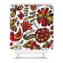 Shower Curtain Flower Olive Lime Tangerine 71x74 Bathroom Decor Made in the USA - DETAILS: