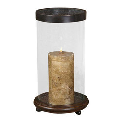 Uttermost Layla Antique Candleholder - Antiqued hickory finished wood base with clear bubbled glass and olive bronze metal rim. Antiqued candle included. Antiqued, hickory finished wood base with clear, bubbled glass and olive bronze metal rim. Antiqued candle included.