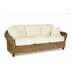 Wicker Paradise - Tangiers Seagrass Sofa - The Tangiers sofa is roomy and has that great seagrass look combined with a clean graceful style. A hardwood frame is under the woven seagrass and the decking is a solid wood frame with comfort straps for added comfort.Choose your fabric for the plump bottom and back cushions (toss pillows not included). (Please NOTE the cushions no longer have any piping. Toss pillows are additional and the wood feet are lighter than the color in the picture.)