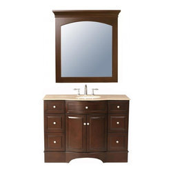 "Stufurhome - 48 Inch Modern Single Sink Bathroom Vanity - This modern single sink bathroom vanity features two doors and six functional drawers.  The solid  Travertine top  is pre-drilled for a standard 3 hole faucet.  Matching mirror included as pictured.  Dimensions: 48""W X 22""D X 36""H (Tolerance: +/- 1/2""); Counter Top: Travertine; Finish: Dark Brown; Features: 2 Doors, 6 Drawers; Hardware: Brushed Nickel; Sink(s): 15 3/8"" X 12 1/4"" Under Mount White Ceramic; Faucet: Pre-Drilled for Standard Three Hole 8"" Center (Not Included); Assembly: Fully Assembled; Large cut out in back for plumbing; Included: Cabinet, Sink, Mirror; Not Included: Faucet, Backsplash."