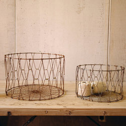"Folding Rustic Baskets (Set of Two) - Dimensions: (Large) 17.5""dia x 12""h"