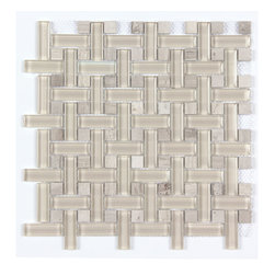 Stone & Co - Timber White Marble and Glass Mix Basket Weave Glass Mosaic Tile - Finish: Polished / Shiny