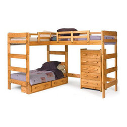 Solid Wood L-Shaped Loft Bed LB-6200(WC) - Combining casual design with function, this loft bed will be perfect for a bedroom in your home. The bed features two lofted beds and a built-in Bed for a stylish, functional design. An open area underneath one of the beds offers a place to store a bookcase, dresser or desk. This loft bed would be perfect for teens sharing a bedroom, or for a bunk bed that will grow with your children!